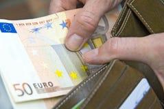 50 Euro. S in the wallet Stock Photos