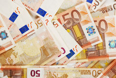 50 euro. A lot of fifty Euro money banknotes Stock Photo