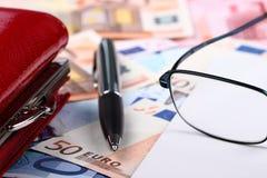 50 EURO. Fifty euro, notebook, money pen Royalty Free Stock Photo