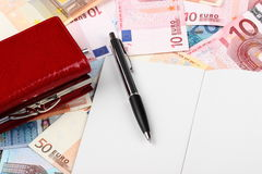 50 EURO. Fifty euro, notebook, money pen Royalty Free Stock Image