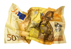 50 Euro. Crumpled 50 Euro banknote isolated on white background Royalty Free Stock Images