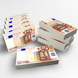 50 Euro. 3D render of some 50 euro banknote stock illustration