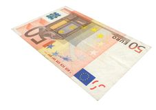 50 Euro banknote. Close-up of 50 Euro banknote isolated on white background Royalty Free Stock Images