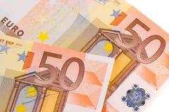 50-euro banknotes. Detail of  50-euro banknotes on white background Stock Photo