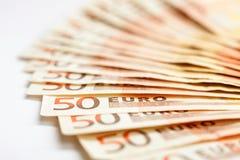 50 Euro banknotes. European banknotes, 50 Euro, close-up, shallow DOF Stock Images