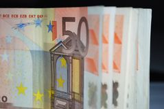 50 Euro bills. A line of 50 euro banknotes stock photos