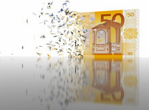 50 Euro Breaking - abstract background. 3D render of 50 Euro Breaking apart royalty free illustration