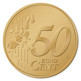 50 euro cent. Isolated on a white background. Vector illustration Stock Photography