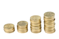 50 EURO cents stacks Royalty Free Stock Photos