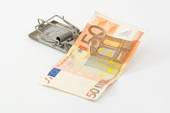 50 euro crisis. Euro trap, currency banknotes and coins European Royalty Free Stock Image