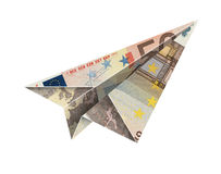 50 euro fly. Bill paper airplane flying over a white background with clipping path Stock Images