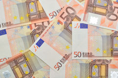 50 Euro money background. A lot of euro banknotes, for background or texture Royalty Free Stock Photos