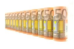 50 euro- notas de banco da moeda Imagem de Stock