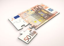 50 Euro Note Puzzle. 50 Euro note as puzzle - one piece seperately stock illustration