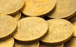 50 euro pièces de monnaie 9 de cent Images libres de droits