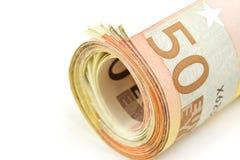 50 euro ruedan para arriba Imagen de archivo libre de regalías
