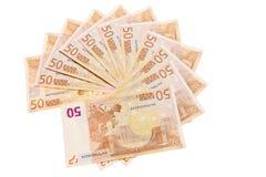 50 Eurobanknoten. Stockbilder