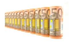 50 Eurobargeld-Banknoten Stockbild