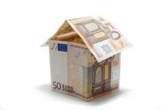 50 euros banknote house Royalty Free Stock Photo