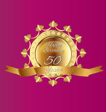 50 Happy anniversary. 50 anniversary gold and purple design illustration vector eps10 Royalty Free Stock Photography