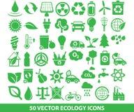 50 icone di ecologia di vettore Fotografie Stock Libere da Diritti