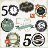 50 jaar van verjaardagstekens en kaarten ontwerp Royalty-vrije Stock Foto's