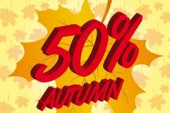 50 jesień dyskontowa procentu sprzedaż Fotografia Royalty Free