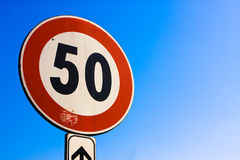 50 km/h limit signal Stock Photo