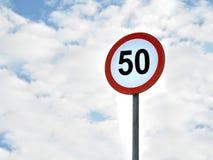50 km/ora di velocità di zona di limite Fotografie Stock Libere da Diritti