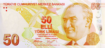 50 lirów banknotu przód Zdjęcia Stock