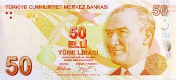 50 Lira sedelframdel Arkivfoton
