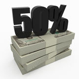 50% money. Stack of money with 50 percent stock illustration