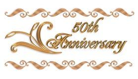 50.o elemento de la frontera de la invitación del oro del aniversario Imagenes de archivo