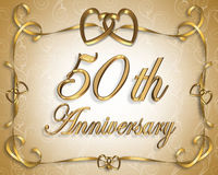 50.o Tarjeta del aniversario de boda Imagen de archivo libre de regalías