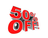 50% off!. A series of digitally rendered advertising designs. Check out my portfolio for the full range Stock Image