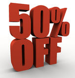50% off. 3d 50% off promotional sign Stock Image