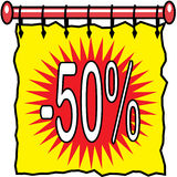 50% Off Discount Illustration. Curtain-like illustration with -50% on red and yellow banner background Royalty Free Stock Photography