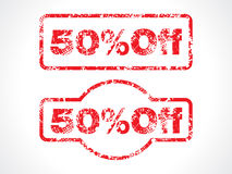 50% off grunge stamp. Vector illustration Stock Photo