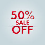 50% off sale. On light blue background Stock Images