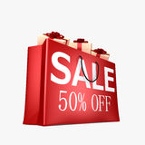 50% Off Shopping Bag. High quality 3d rendering of shopping bag with 50% off sign Stock Photos