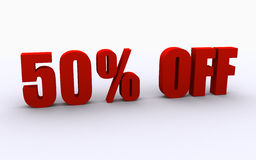 50% off sign. 50% off discount (3d render Royalty Free Stock Photos