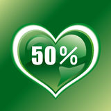 50 percent. This graphic is 50 percent heart Stock Image