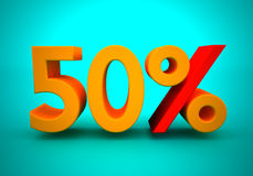 50 percent. Discount of 50 percent for a green background Royalty Free Stock Photo