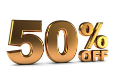 50 percent. 3d illustration of 50 percent discount sign, golden color Stock Photography
