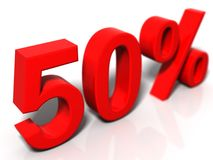 50 percent. 3d rendered image on a white reflective background Stock Image