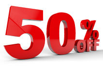 50 Percent. Sale Discount percentage red over white background Royalty Free Stock Photo