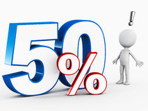 50 percent. 3d figure man excited to see 50 percent text, concept of 50% rebate, off, discount or anything 50 percent Royalty Free Stock Photo