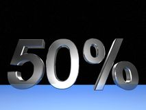 50 percent. 3d rendered numeric and percentage with space bacground vector illustration