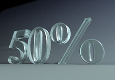 50_percent. 3D graphics. 50 fifty percent caption, made of glass or plexi Royalty Free Stock Photography