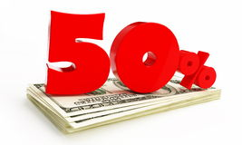 50 Percent. On a white backgroun Royalty Free Stock Photography
